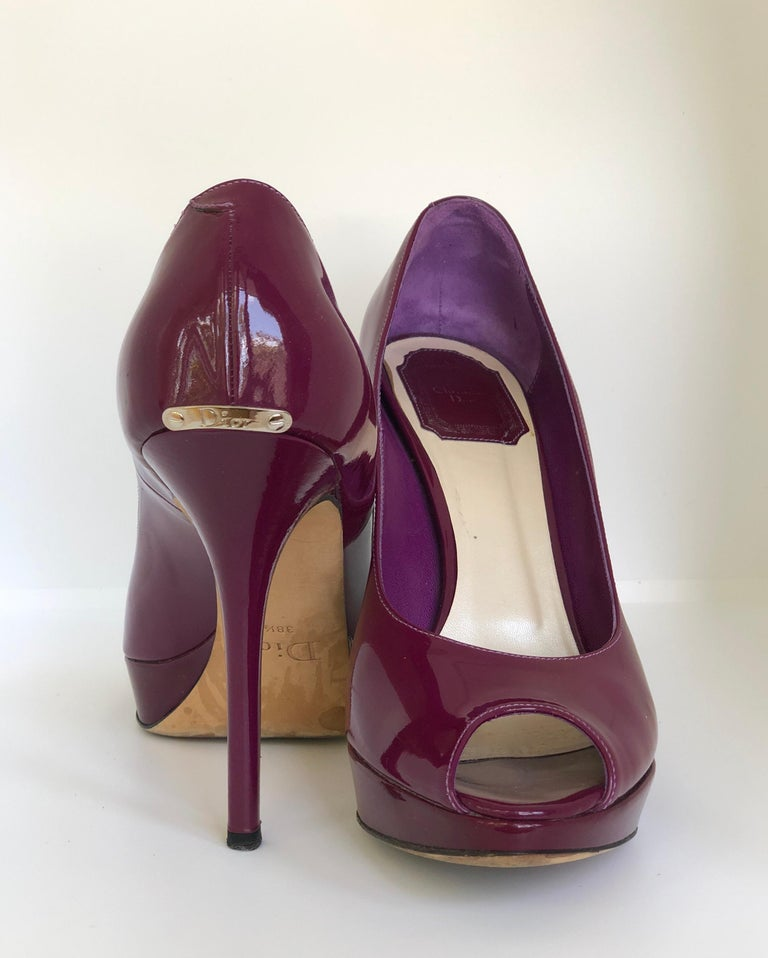 Christian Dior Pink/ Purple Berry Patent Leather Platform & Peep Toe Pumps For Sale 6