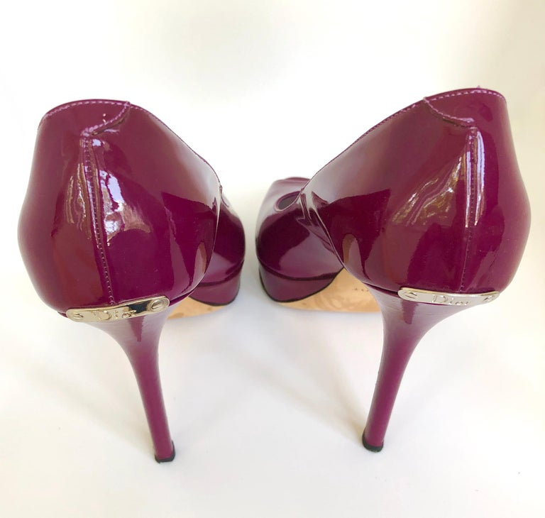 Christian Dior Pink/ Purple Berry Patent Leather Platform & Peep Toe Pumps For Sale 8
