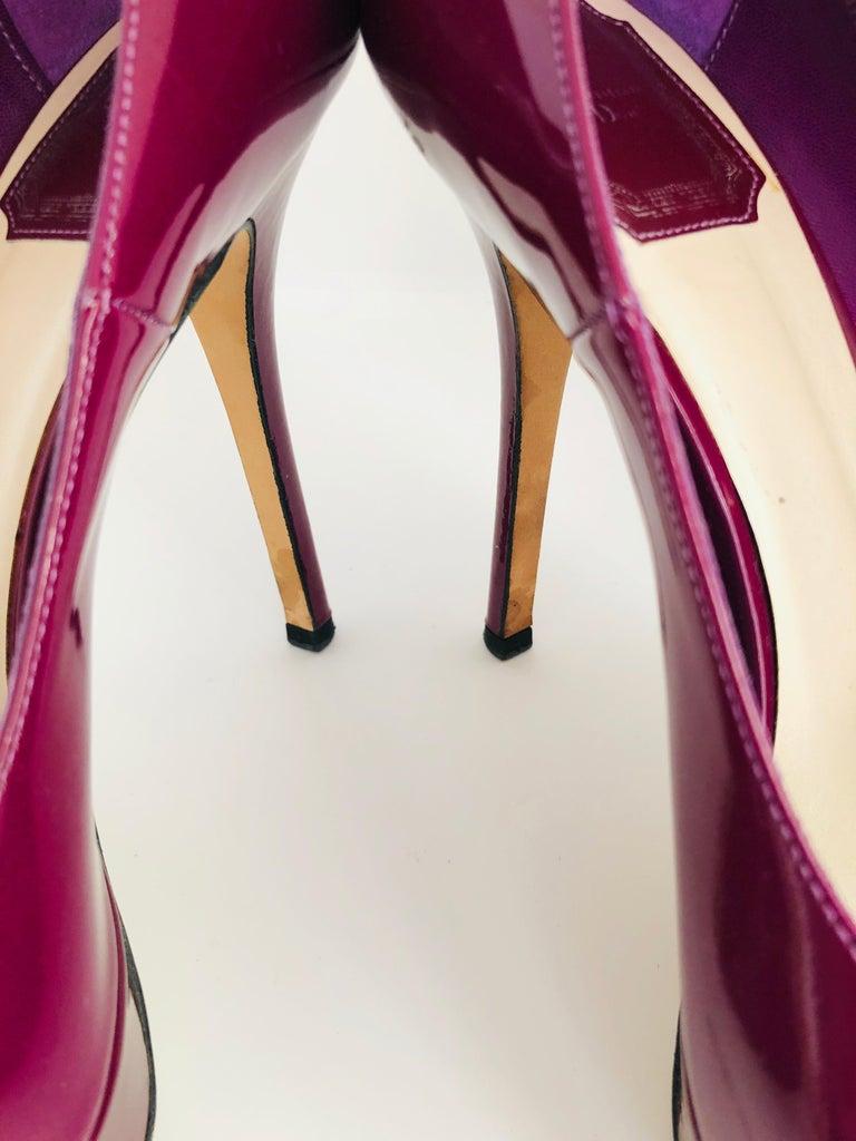 Christian Dior Pink/ Purple Berry Patent Leather Platform & Peep Toe Pumps For Sale 9