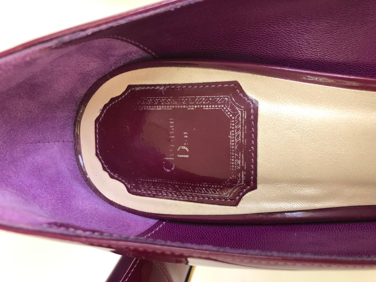 Christian Dior Pink/ Purple Berry Patent Leather Platform & Peep Toe Pumps For Sale 10