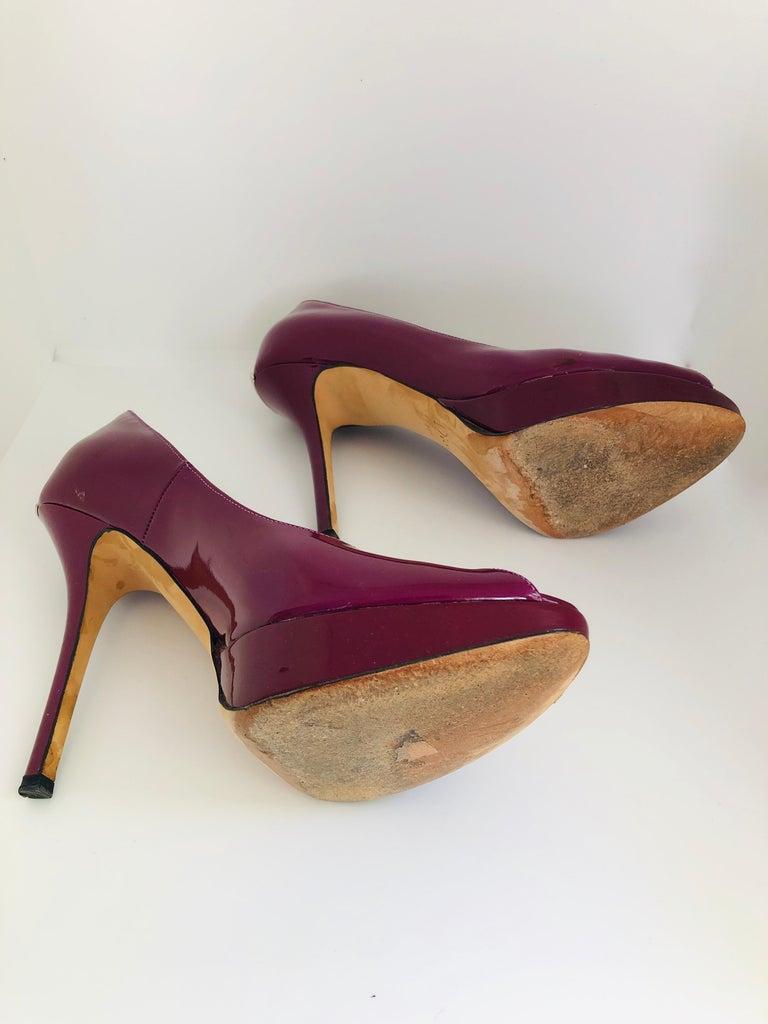 Christian Dior Pink/ Purple Berry Patent Leather Platform & Peep Toe Pumps For Sale 11