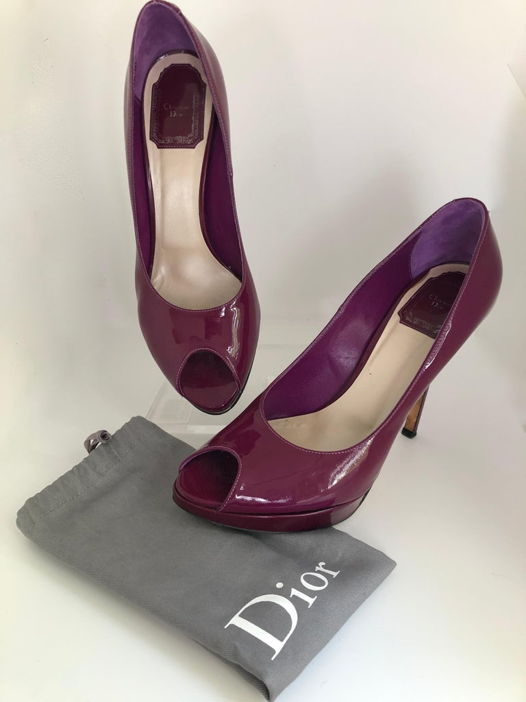 Christian Dior Pink/ Purple Berry Patent Leather Platform & Peep Toe Pumps For Sale 12