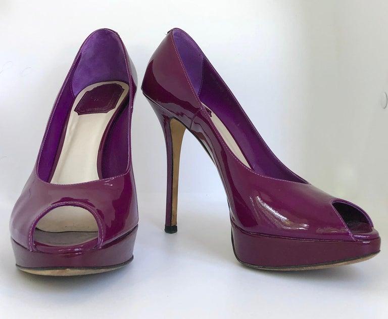 Black Christian Dior Pink/ Purple Berry Patent Leather Platform & Peep Toe Pumps For Sale