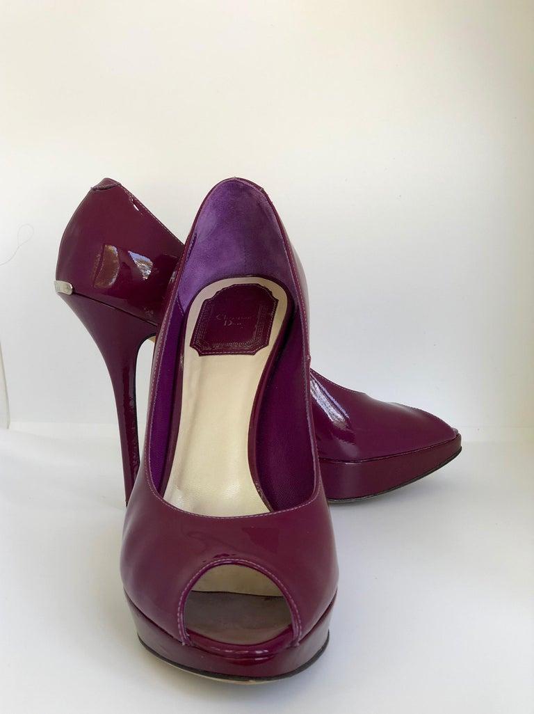 Christian Dior Pink/ Purple Berry Patent Leather Platform & Peep Toe Pumps For Sale 1