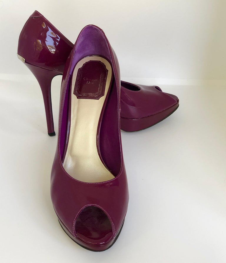 Christian Dior Pink/ Purple Berry Patent Leather Platform & Peep Toe Pumps For Sale 2