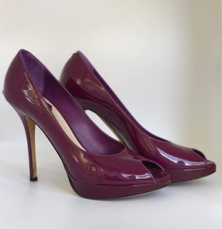 Christian Dior Pink/ Purple Berry Patent Leather Platform & Peep Toe Pumps For Sale 3