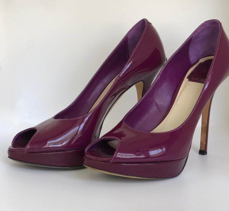 Christian Dior Pink/ Purple Berry Patent Leather Platform & Peep Toe Pumps For Sale 4
