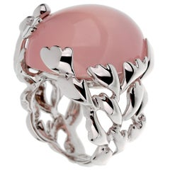 Christian Dior Pink Quartz Diamond White Gold Cocktail Ring