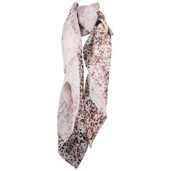 CHRISTIAN DIOR pink silk FLORAL & STRIPED ORGANZA Shawl Scarf