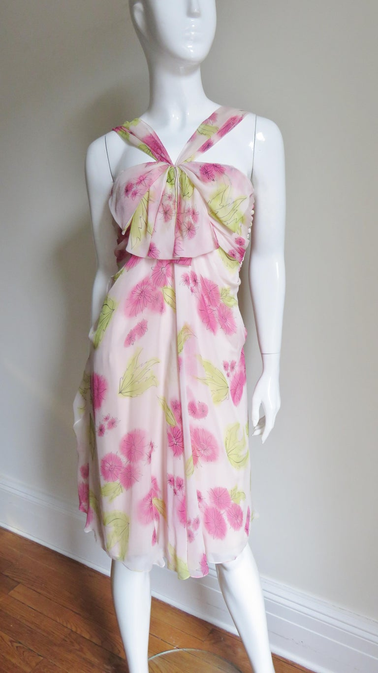 Silk Meeting In My Bedroom: Christian Dior Pink Silk Flower Dress For Sale At 1stdibs