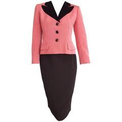 Christian DIOR pink silk jacket, black silk skirt, black velvet collar - Unworn