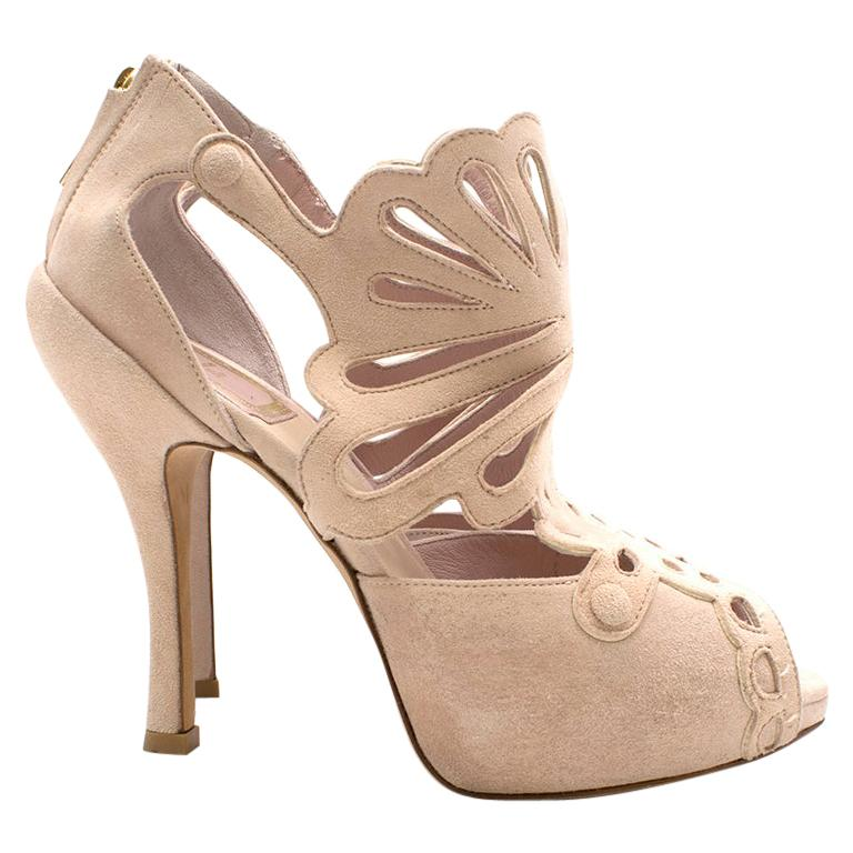 Christian Dior Pink Suede Cut-out Detailed Peep-toe Pumps - EU 36