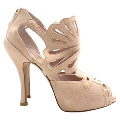 Christian Dior Pink Suede Cut-out Detailed Peep-toe Pumps 36