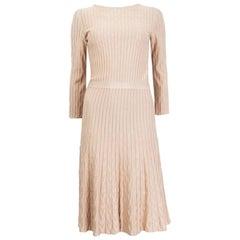 CHRISTIAN DIOR pink viscose 3/4 Sleeve RIB KNIT Dress 38 S