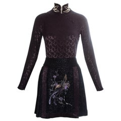 Christian Dior plum jacquard satin embroidered mini dress, fw 1997