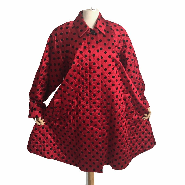 Women's Christian Dior Polka Dot Evening Coat Voluminous Silk Satin Red Vintage Sz 10 For Sale