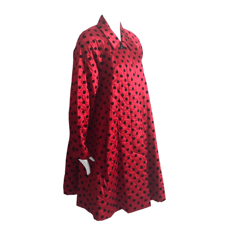 Christian Dior Polka Dot Evening Coat Voluminous Silk Satin Red Vintage Sz 10 For Sale