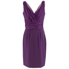 Christian Dior Purple Pleated Draped Dress 40 (FR)