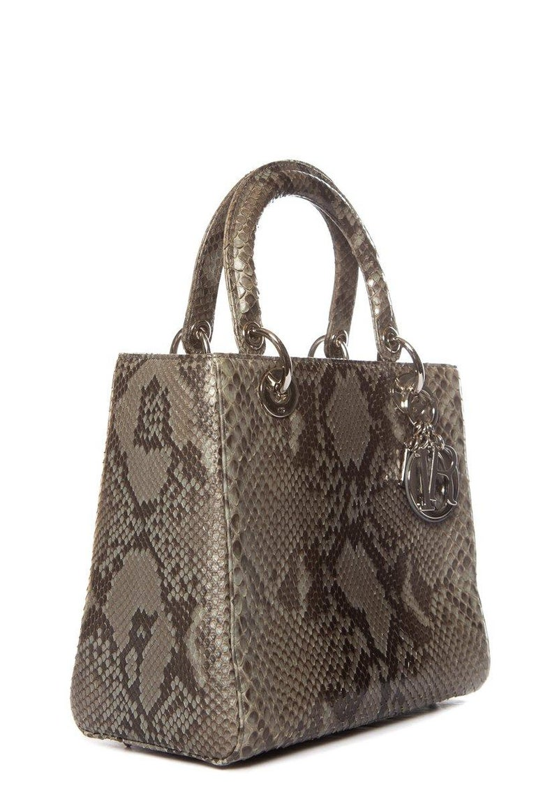 Gray CHRISTIAN DIOR  Python Lady Dior Bag For Sale