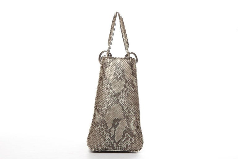 CHRISTIAN DIOR  Python Lady Dior Bag In Good Condition For Sale In Scottsdale, AZ