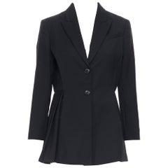CHRISTIAN DIOR RAF black wool peak lapel pleated side tuxedo blazer jacket FR42