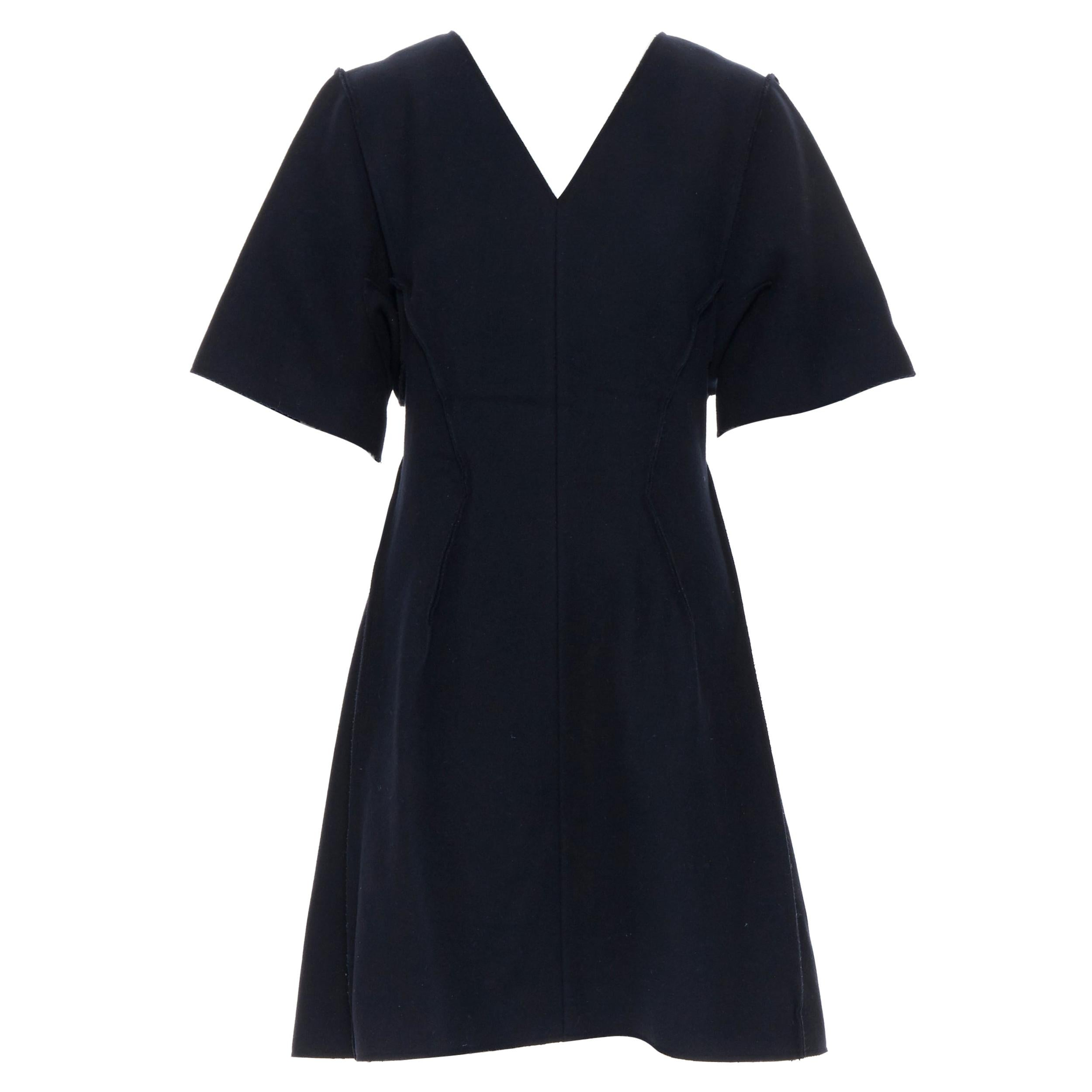 CHRISTIAN DIOR RAF lack wool felt reversed exposed seams flared dress FR42