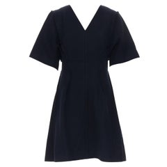 CHRISTIAN DIOR RAF lack wool felt reversed exposed seams flared dress FR42