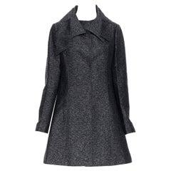CHRISTIAN DIOR RAF melange grey silk wool irregular collar A-line coat FR42