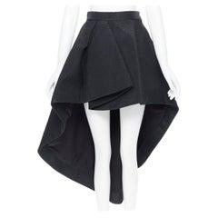CHRISTIAN DIOR RAF SIMONS black wool blend jacquard pleated high low skirt FR34