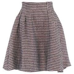 "CHRISTIAN DIOR RAF SIMONS pink black houndstooth tweed flared skirt FR36 27"" S"