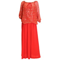 Christian Dior Red Boutique Paris Dress and Evening Top
