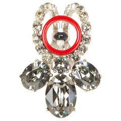 CHRISTIAN DIOR red & crystal embellished Ring Size L / 6
