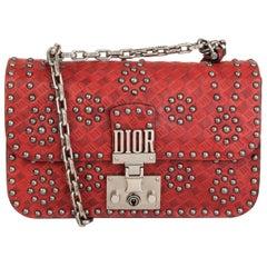 CHRISTIAN DIOR red Embossed leather STUDDED DIORADDICT Flap Shoulder Bag