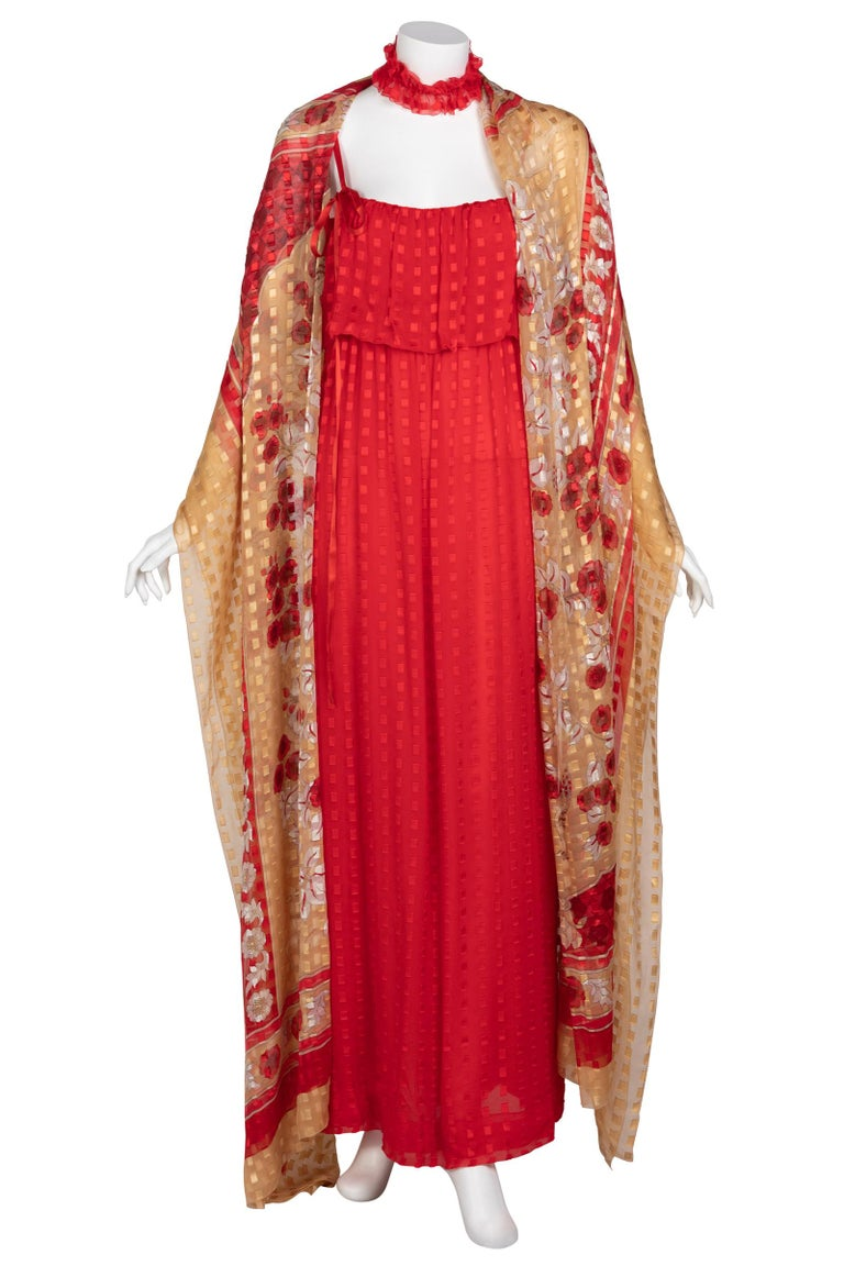 Christian Dior Red Maxi Dress & Shawl Documented 1970s For Sale 6