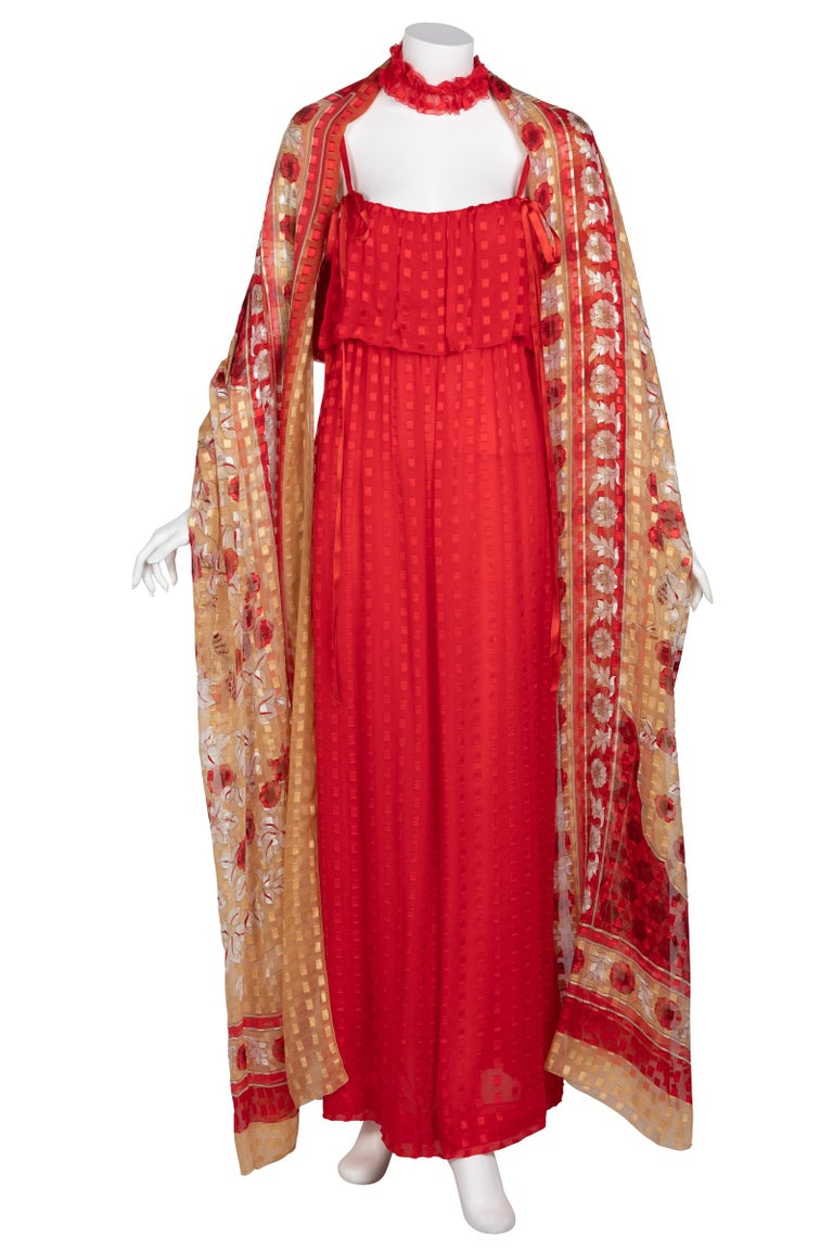 Christian Dior Red Maxi Dress & Shawl Documented 1970s For Sale 7