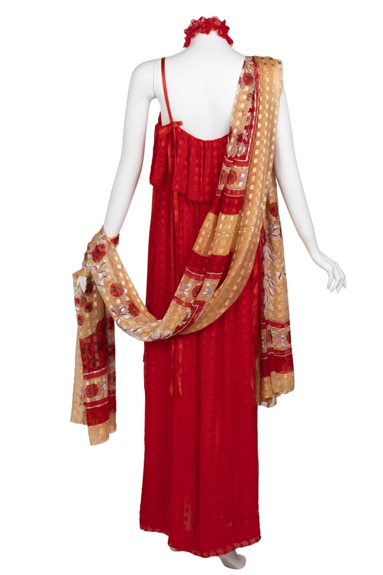 Christian Dior Red Maxi Dress & Shawl Documented 1970s In Excellent Condition For Sale In Boca Raton, FL