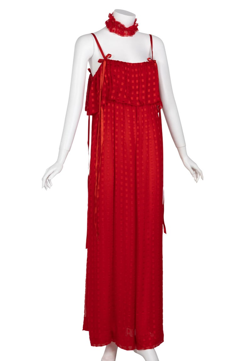Women's Christian Dior Red Maxi Dress & Shawl Documented 1970s For Sale