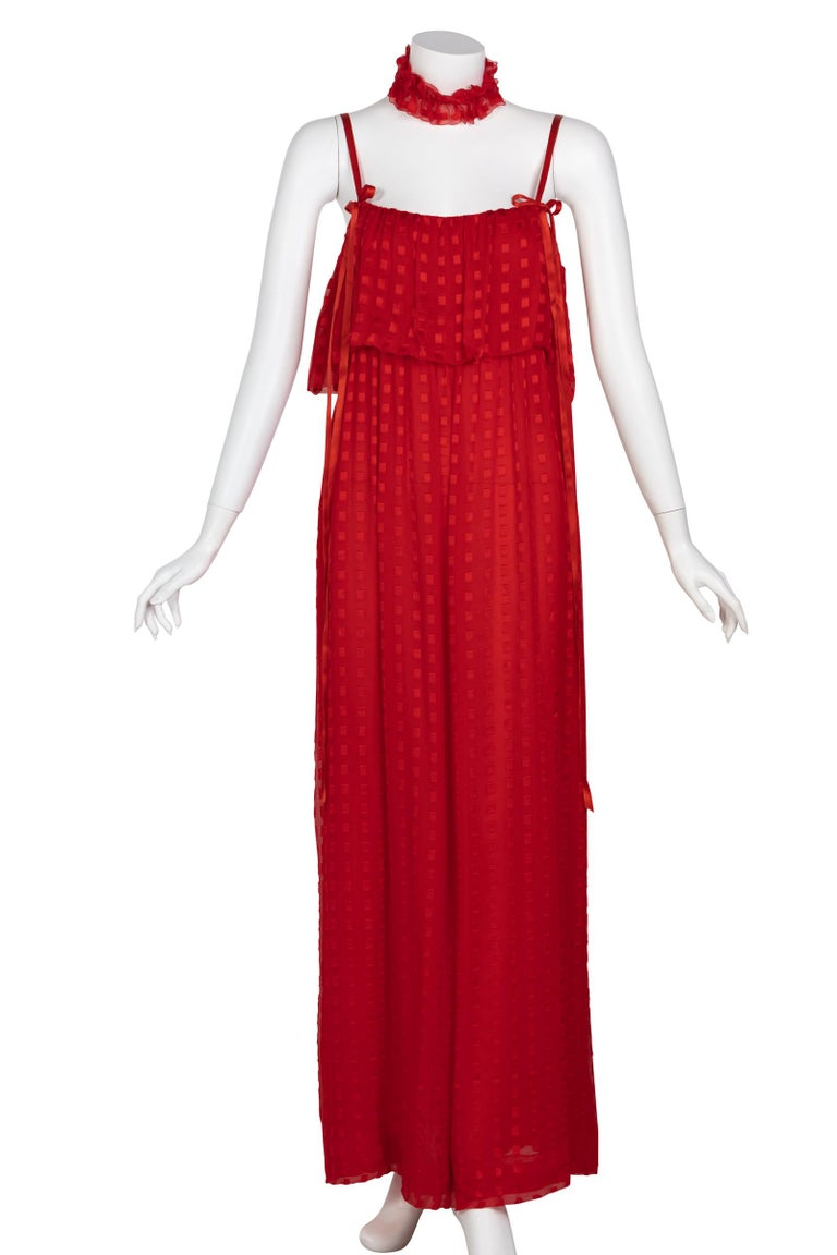 Christian Dior Red Maxi Dress & Shawl Documented 1970s For Sale 1