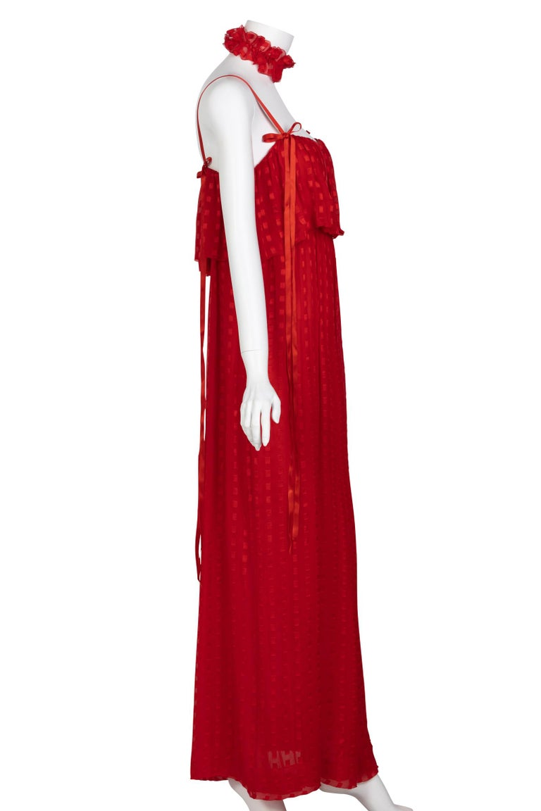 Christian Dior Red Maxi Dress & Shawl Documented 1970s For Sale 2