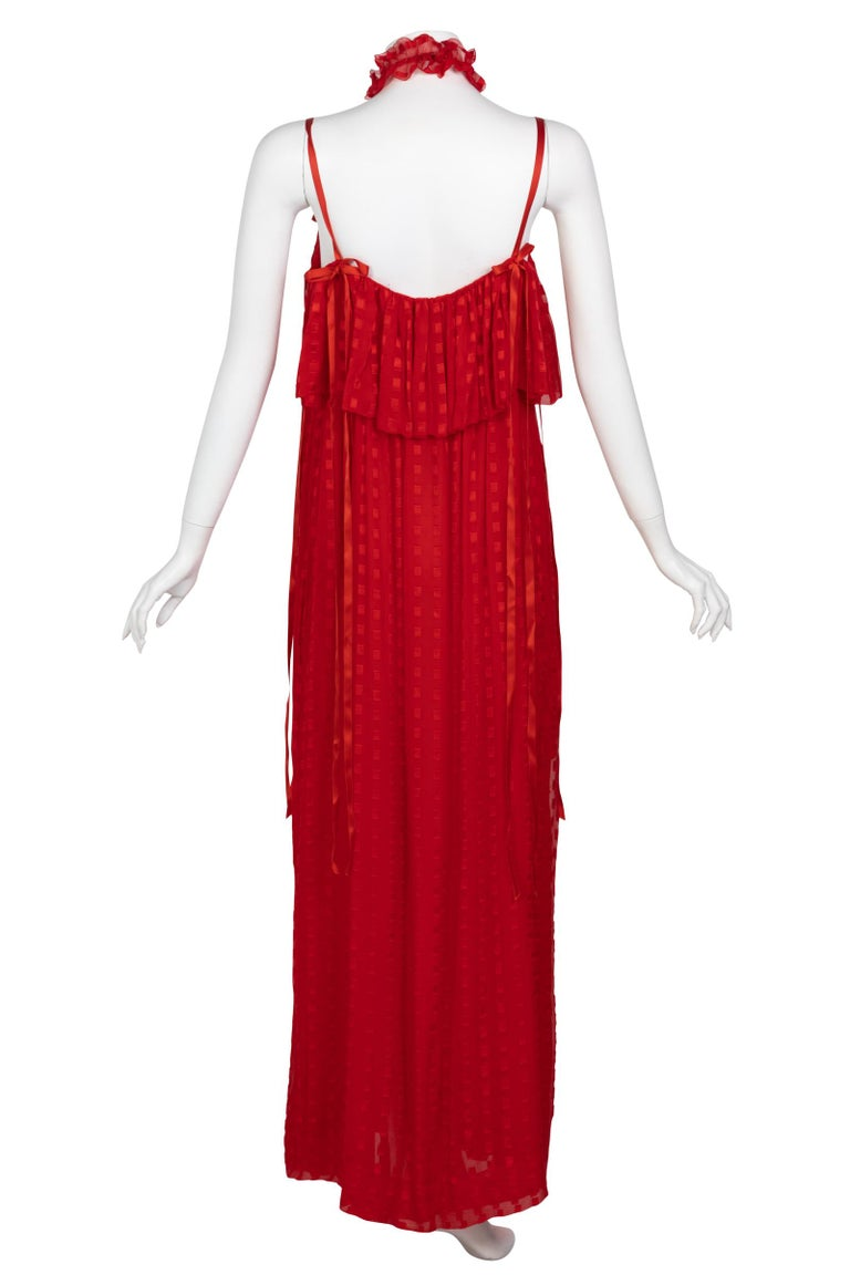 Christian Dior Red Maxi Dress & Shawl Documented 1970s For Sale 3