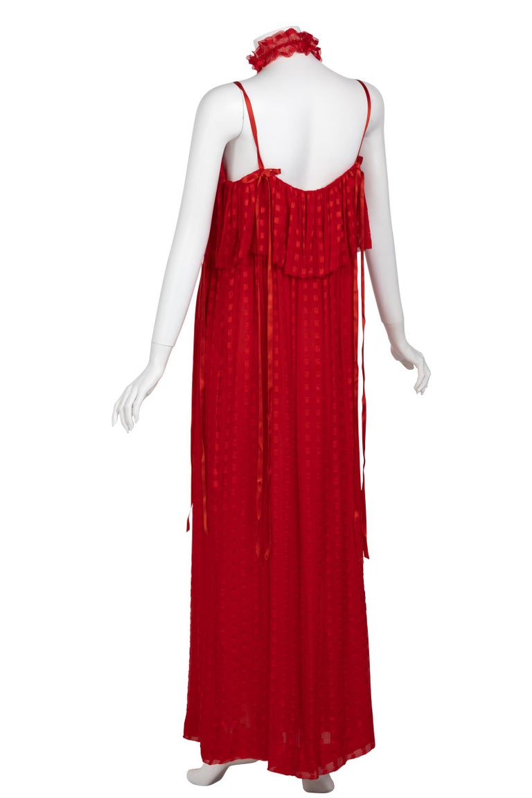 Christian Dior Red Maxi Dress & Shawl Documented 1970s For Sale 4