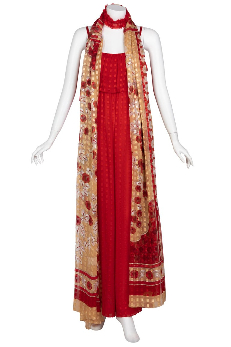 Christian Dior Red Maxi Dress & Shawl Documented 1970s For Sale 5