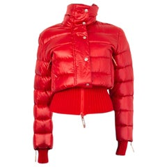 CHRISTIAN DIOR red nylon DOWN PUFFER Jacket 38 S
