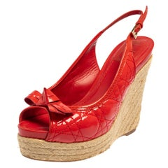 Christian Dior Red Patent Leather Wedge Sandals Size 39
