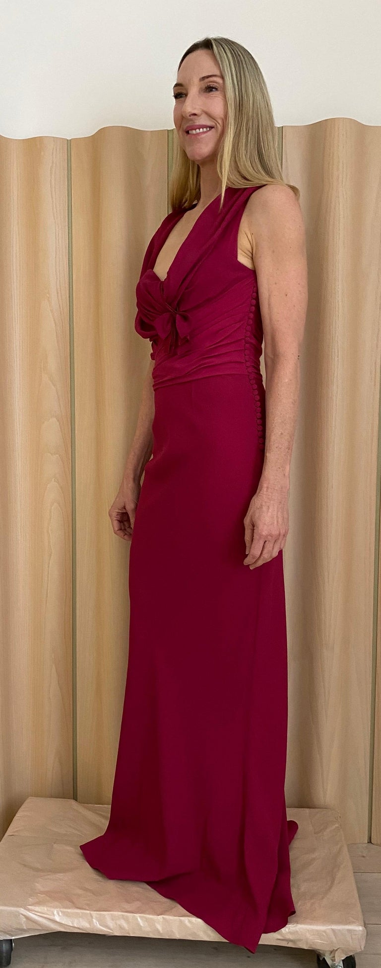 Christian Dior by John Galliano Berry Pink Silk Crepe Bias cut gown . Gown is in excellent condition.  Fit size US 4