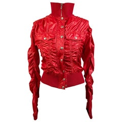 Christian Dior Red Polyester Cropped Windbreaker Jacket Size 38