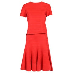 Christian Dior Red Ribbed Crop Top & Skirt Ensemble