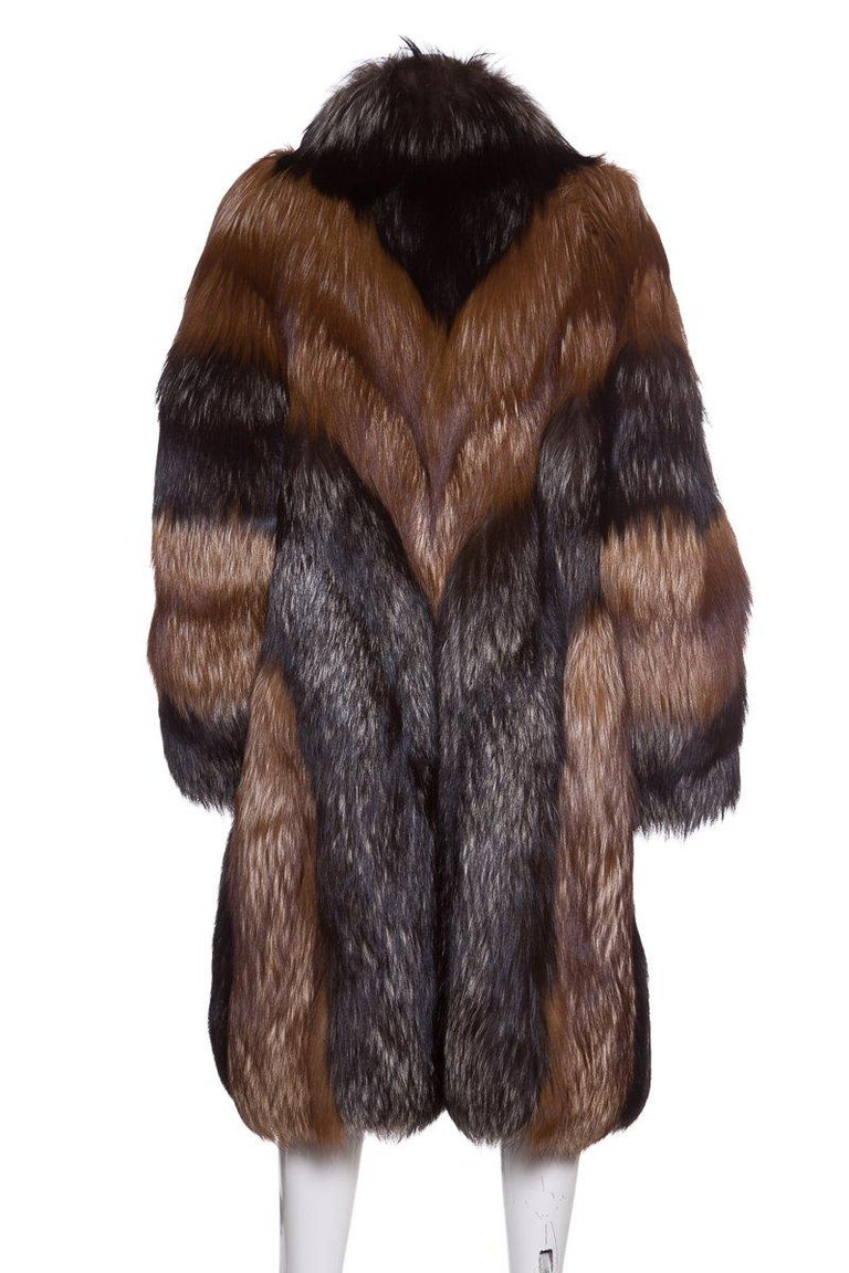 Black CHRISTIAN DIOR  Red Russian Fox Fur Coat For Sale