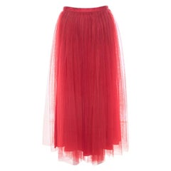 Christian Dior Red Tulle Overlay Gathered Midi Skirt M