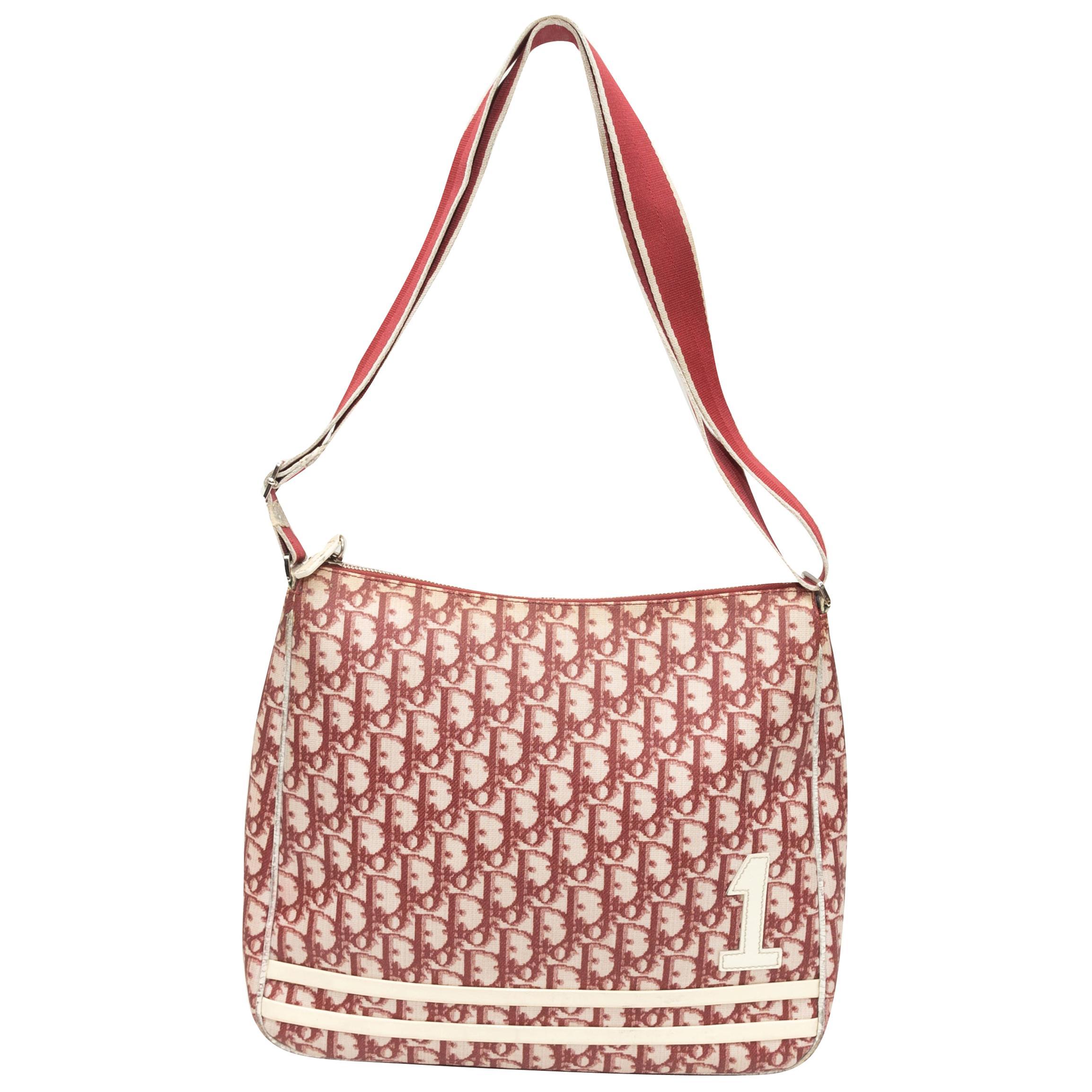 Christian Dior Red & White 2004 Oblique Trotter Messenger Bag